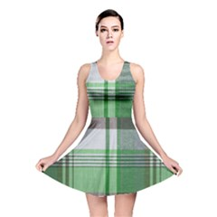 Plaid Fabric Texture Brown And Green Reversible Skater Dress by BangZart