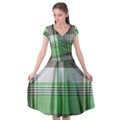 Plaid Fabric Texture Brown And Green Cap Sleeve Wrap Front Dress