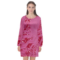 Pink Circuit Pattern Long Sleeve Chiffon Shift Dress  by BangZart