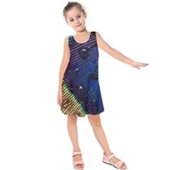 Peacock Feather Retina Mac Kids  Sleeveless Dress by BangZart