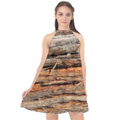 Natural Wood Texture Halter Neckline Chiffon Dress  by BangZart