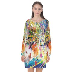 Multicolor Anime Colors Colorful Long Sleeve Chiffon Shift Dress  by BangZart