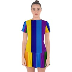 Paper Rainbow Colorful Colors Drop Hem Mini Chiffon Dress by paulaoliveiradesign