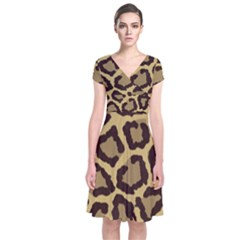 Leopard Short Sleeve Front Wrap Dress by BangZart