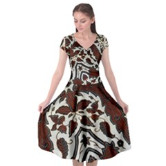 Javanese Batik Cap Sleeve Wrap Front Dress