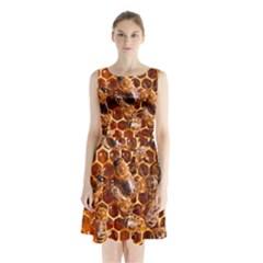 Honey Bees Sleeveless Waist Tie Chiffon Dress by BangZart