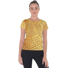 Gold Pattern Short Sleeve Sports Top  by BangZart
