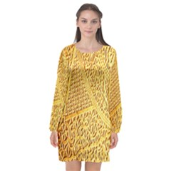 Gold Pattern Long Sleeve Chiffon Shift Dress