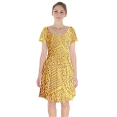 Gold Pattern Short Sleeve Bardot Dress by BangZart