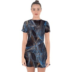 Fractal Tangled Minds Drop Hem Mini Chiffon Dress