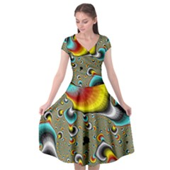 Fractals Random Bluray Cap Sleeve Wrap Front Dress by BangZart