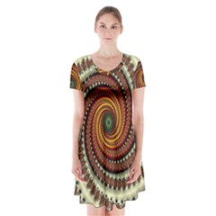 Fractal Pattern Short Sleeve V Neck Flare Dress by BangZart