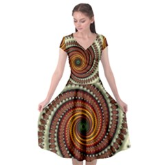 Fractal Pattern Cap Sleeve Wrap Front Dress by BangZart