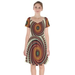 Fractal Pattern Short Sleeve Bardot Dress by BangZart