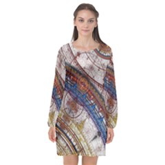Fractal Circles Long Sleeve Chiffon Shift Dress  by BangZart