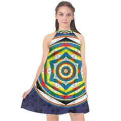 Flower Of Life Universal Mandala Halter Neckline Chiffon Dress