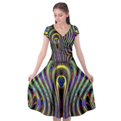 Curves Color Abstract Cap Sleeve Wrap Front Dress by BangZart