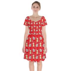 Cute Hamster Pattern Red Background Short Sleeve Bardot Dress by BangZart