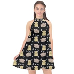 Cute Hamster Pattern Black Background Halter Neckline Chiffon Dress