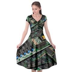 Computer Ram Tech Cap Sleeve Wrap Front Dress by BangZart