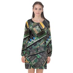 Computer Ram Tech Long Sleeve Chiffon Shift Dress