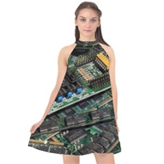 Computer Ram Tech Halter Neckline Chiffon Dress