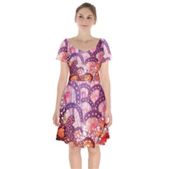 Colorful Art Traditional Batik Pattern Short Sleeve Bardot Dress by BangZart