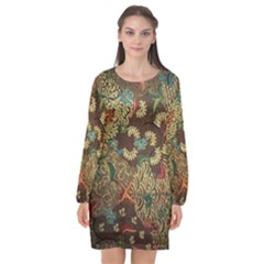 Colorful The Beautiful Of Art Indonesian Batik Pattern Long Sleeve Chiffon Shift Dress  by BangZart