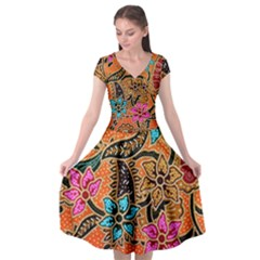 Colorful The Beautiful Of Art Indonesian Batik Pattern(1) Cap Sleeve Wrap Front Dress