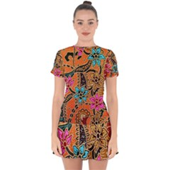 Colorful The Beautiful Of Art Indonesian Batik Pattern(1) Drop Hem Mini Chiffon Dress by BangZart