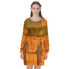 Circuit Board Pattern Long Sleeve Chiffon Shift Dress