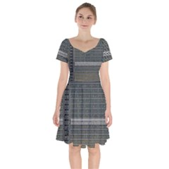 Building Pattern Short Sleeve Bardot Dress by BangZart