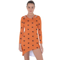 Funny Halloween   Spider Pattern Asymmetric Cut Out Shift Dress by MoreColorsinLife