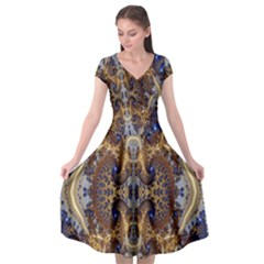 Baroque Fractal Pattern Cap Sleeve Wrap Front Dress