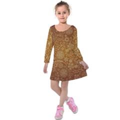 Batik Art Pattern Kids  Long Sleeve Velvet Dress