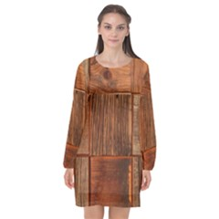 Barnwood Unfinished Long Sleeve Chiffon Shift Dress  by BangZart