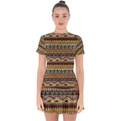 Aztec Pattern Ethnic Drop Hem Mini Chiffon Dress by BangZart