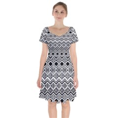 Aztec Design  Pattern Short Sleeve Bardot Dress