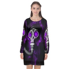 Gas Mask Long Sleeve Chiffon Shift Dress  by Valentinaart