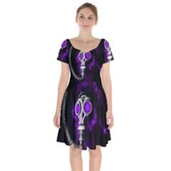 Gas Mask Short Sleeve Bardot Dress by Valentinaart