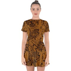 Art Traditional Batik Flower Pattern Drop Hem Mini Chiffon Dress by BangZart