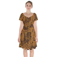 Art Traditional Batik Flower Pattern Short Sleeve Bardot Dress by BangZart