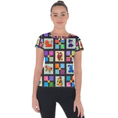 Animal Party Pattern Short Sleeve Sports Top