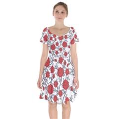 Texture Roses Flowers Short Sleeve Bardot Dress by BangZart
