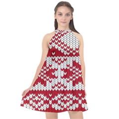 Crimson Knitting Pattern Background Vector Halter Neckline Chiffon Dress  by BangZart