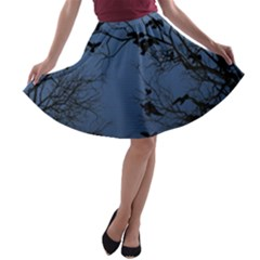 Crow Flock  A Line Skater Skirt by Valentinaart