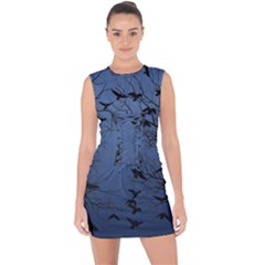 Crow Flock  Lace Up Front Bodycon Dress by Valentinaart
