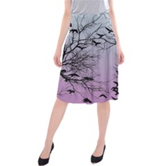 Crow Flock  Midi Beach Skirt by Valentinaart