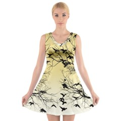 Crow Flock  V Neck Sleeveless Skater Dress by Valentinaart