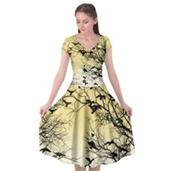 Crow Flock  Cap Sleeve Wrap Front Dress by Valentinaart